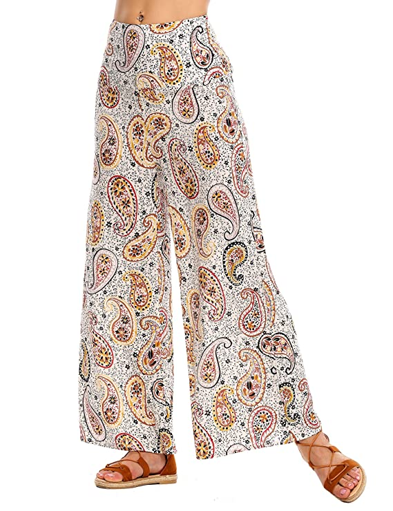 1930s Women's Pants and Beach Pajamas Womens High Waist Wide Leg Printed Palazzo Pants  AT vintagedancer.com