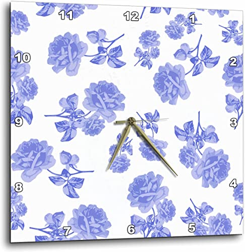 3dRose Blue and White Flower Pattern Inspired by Oriental Porcelain and Delft – Wall Clock, 10 by 10-Inch DPP_183969_1