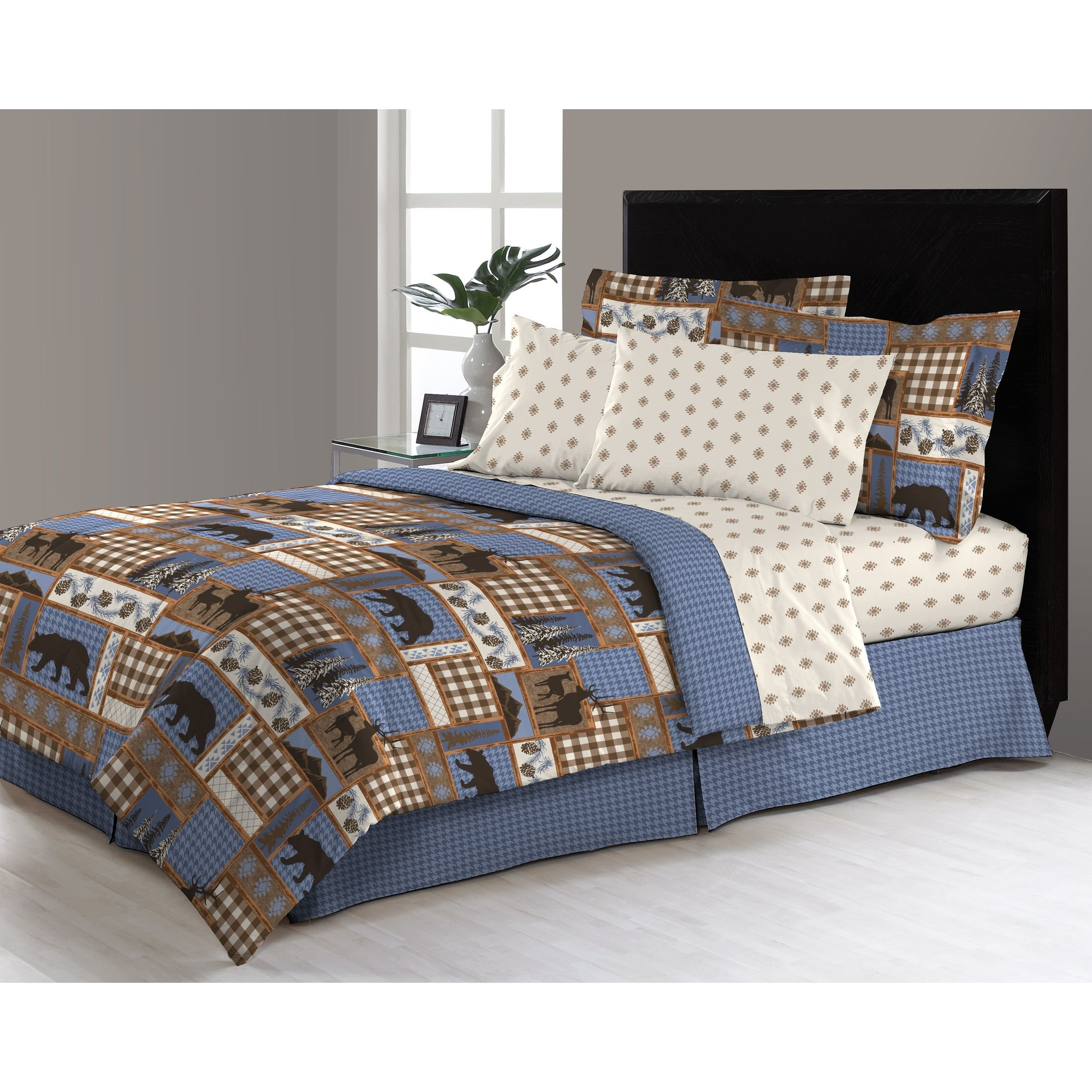 6 Piece Blue Tan Brown Hunting Themed Comforter Twin Set, Deer Bedding Moose Mountains Elk Pine Trees Comb Cabin Themed Lodge Plaid Lumberjack Pattern Wildlife Animals Woods Hunt Game, Microfiber