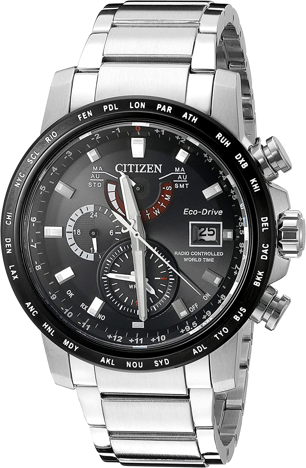 Citizen Men s AT9071-58E World Time A-T Analog Display Japanese Quartz Silver Watch