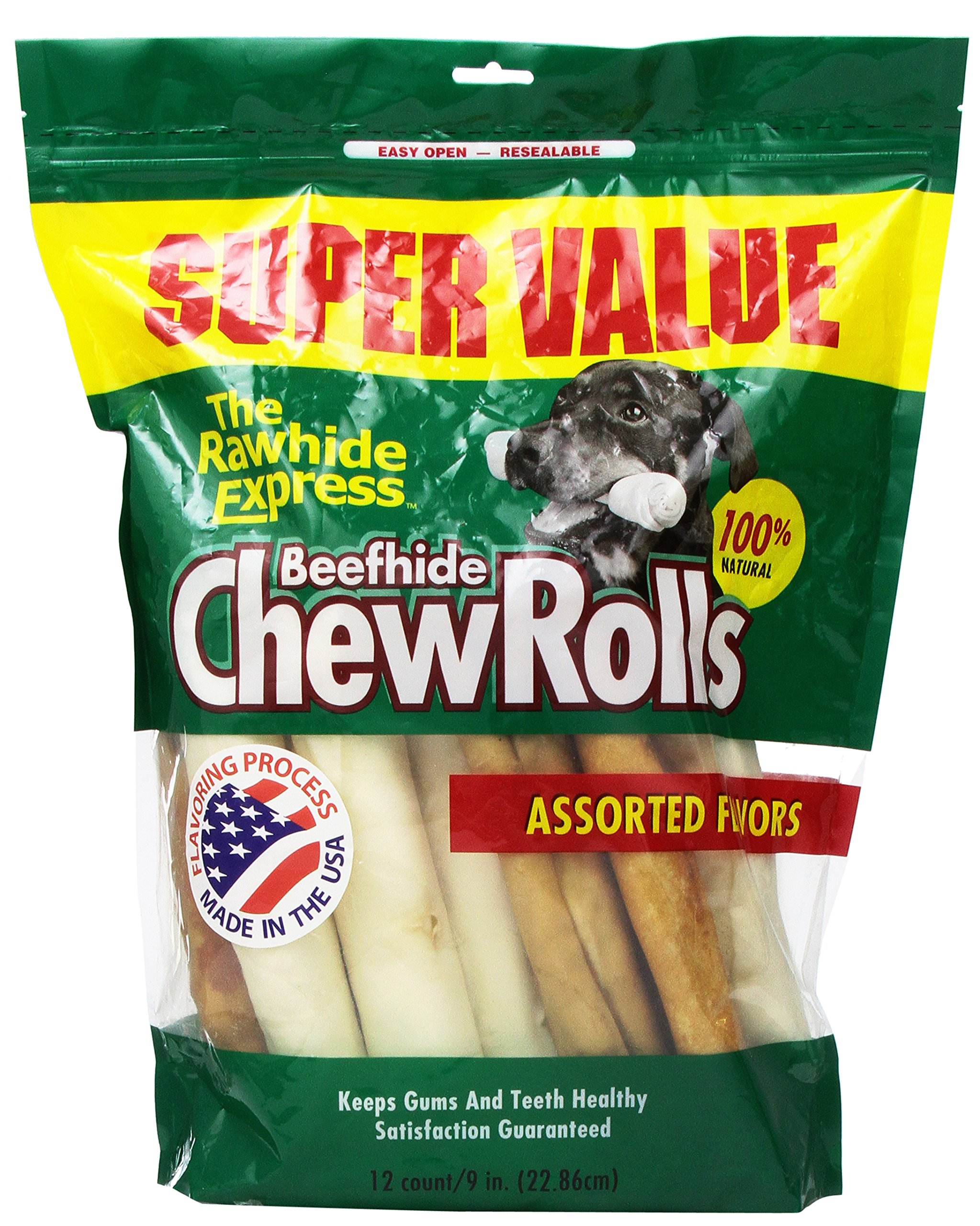 The Rawhide Express Assorted Value Pack Rolls Dog Chew, 9 by 10-Inch, 12-Pack