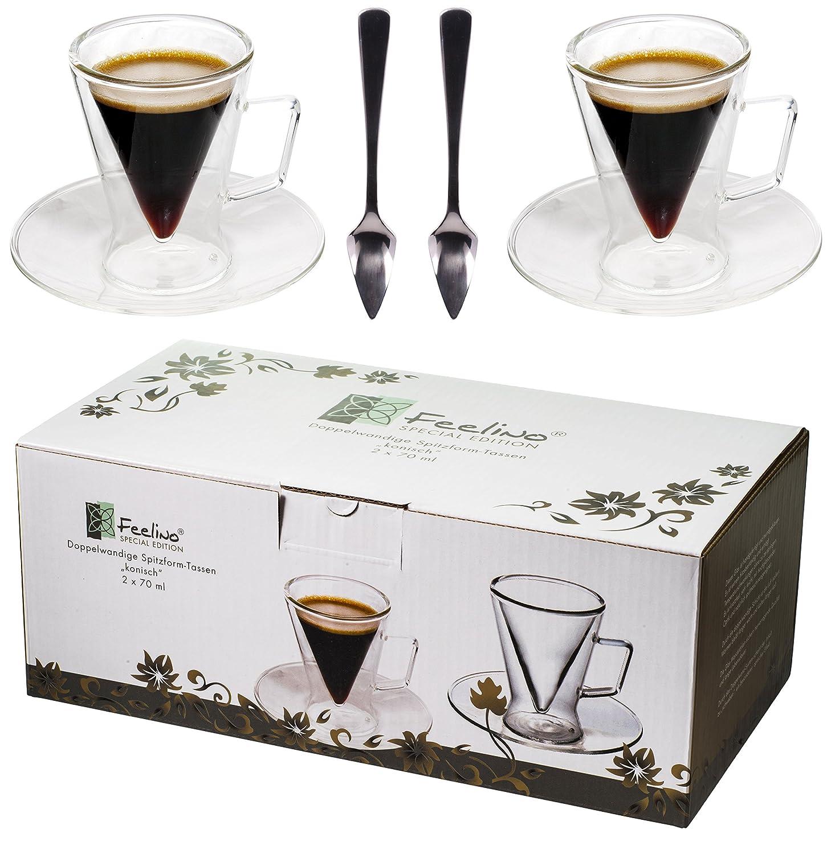 F Cadeau Exceptionnel, Un Design Moderne pour Votre Espresso de Feelino R Spikey 2X Verres /à Double paroi de 70 ML et 2 cuill/ères Design Exclusif