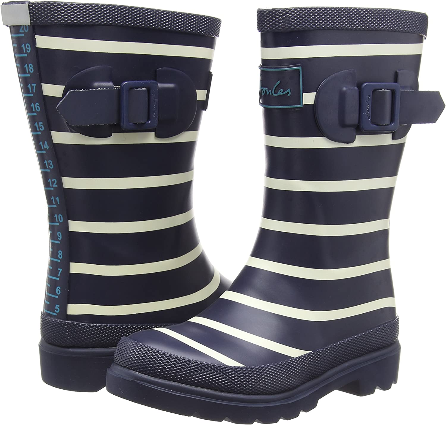 Joules Printed Welly Stripe French Navy Rubber Child Wellingtons Boots