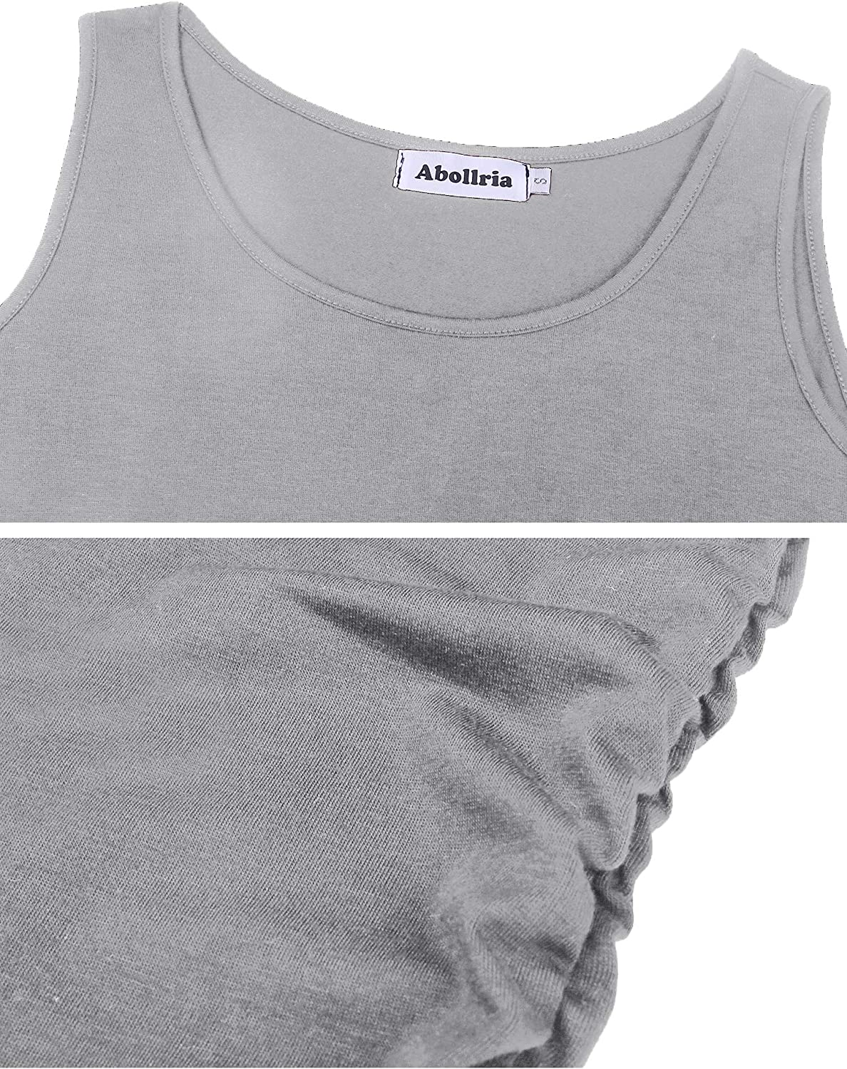 Abollria Womens Summer Cotton Sleeveless Camisole Casual Pleated Long Vest Tank Tops with Stretch