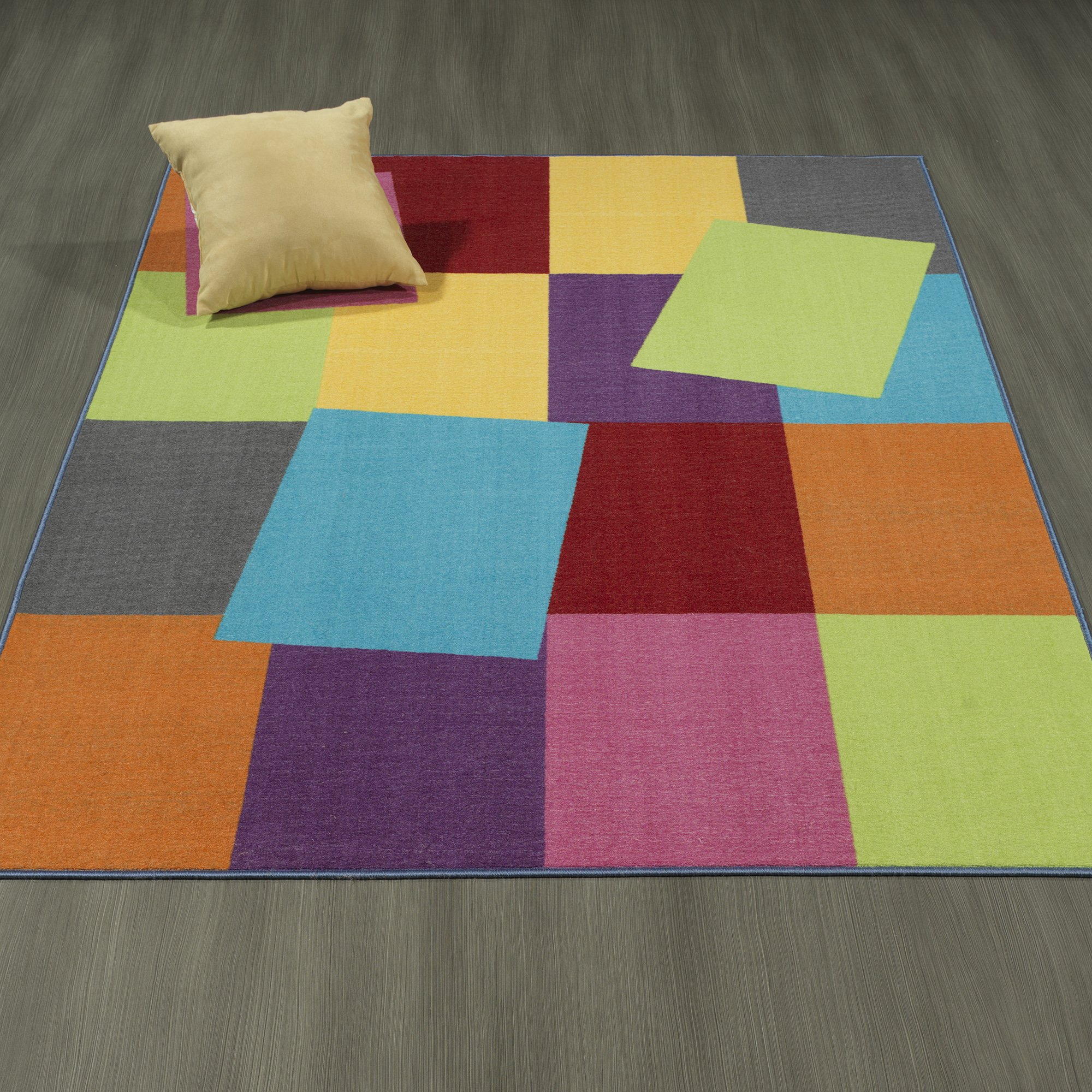 Ottomanson Rainbow Collection Non-Slip Modern Rectangle Pattern Design Area 98'' x 118'' Kids Rug, 8'2'' x 9'10'', Multicolor