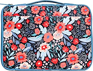 Padded Protective Laptop Bag for Women Teen Girls, Computer Case Fits Up to 15 Inch Laptop PC and MacBook Pro, Cute Blue/Red Patterned Tech Sleeve with Zip Close and Carrying Handle, Folk Floral
