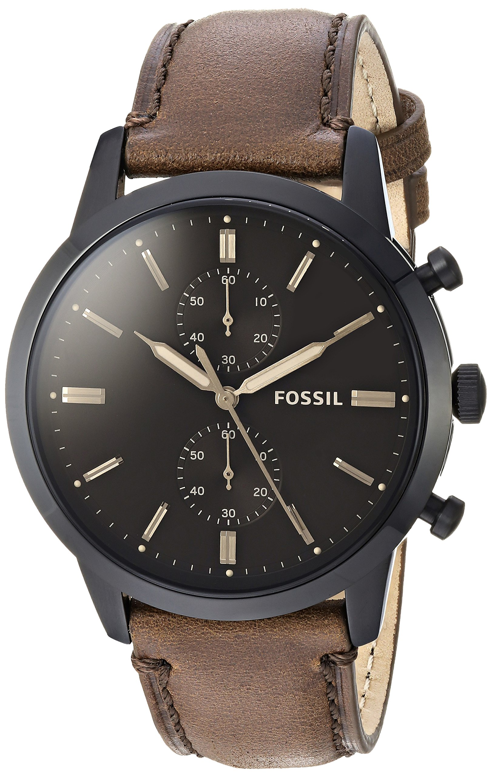 Fossil Men's 'Townsman' Quartz Stainless Steel and Leather Casual Watch, Color:Brown (Model: FS5437)