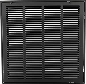 """20"""" X 20"""" Steel Return Air Filter Grille for 1"""" Filter - Removable Face/Door - HVAC Duct Cover - Flat Stamped Face - Black [Outer Dimensions: 22.5 X 21.75]"""
