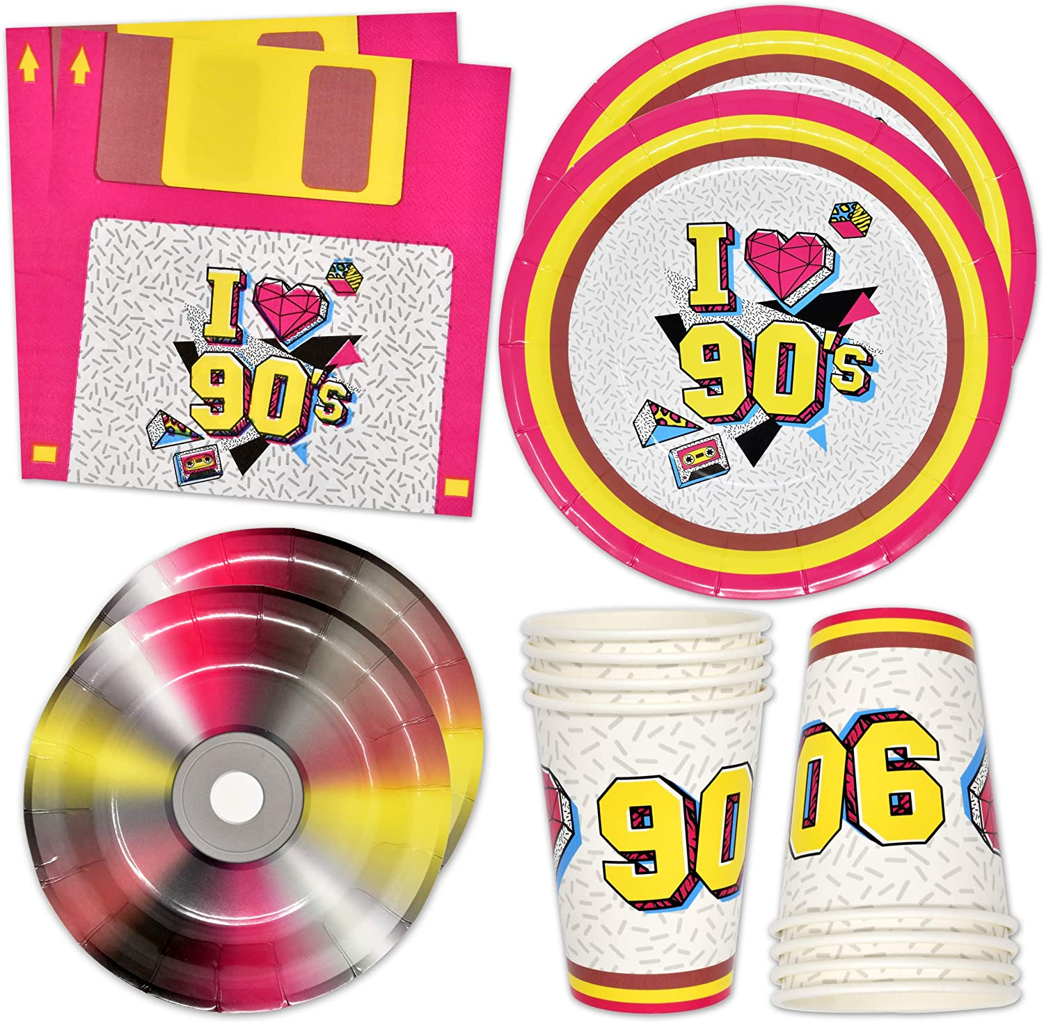 90's Party Supplies Tableware Set 24 9