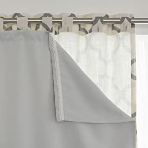 """Best Home Fashion Blackout Curtain Liner Panel Pair – Rod Pocket – Off White – 35"""" W x 60"""" L – (Set of 2 Panels)"""