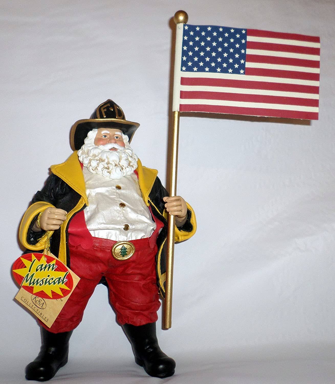 【代引き不可】 America 's Bravest 's America サンタ句消防士Musical Fabriche Figurine再生