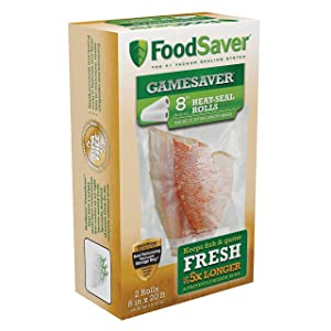 """FoodSaver GameSaver 8"""" x 20' Vacuum Seal Long Roll with BPA-Free Multilayer Construction, 2 Pack"""