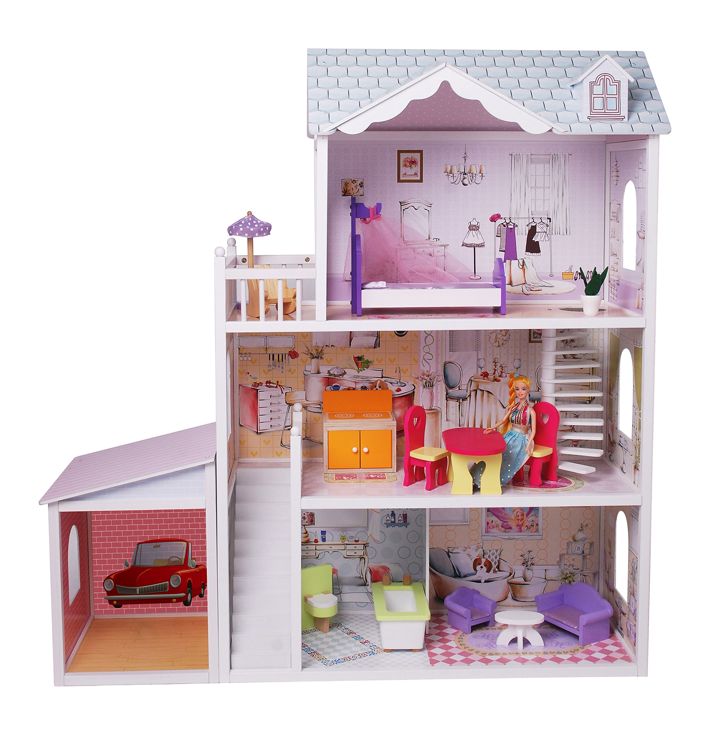 Wooden dollhouse with detached garage and 13 furniture pieces - over 4' tall
