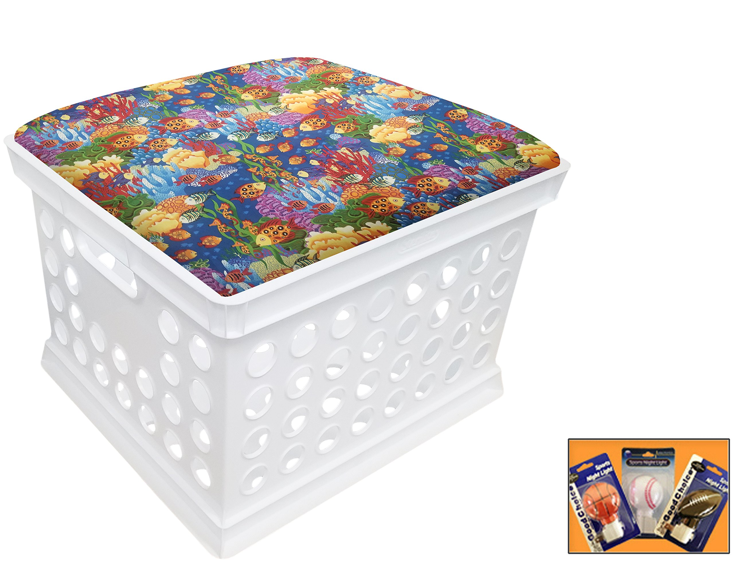 White Utility Crate Storage Container Ottoman Bench Stool for Office/Home/School/Preschools with Your Choice of Seat Cushion Theme! (Colorful Fish)