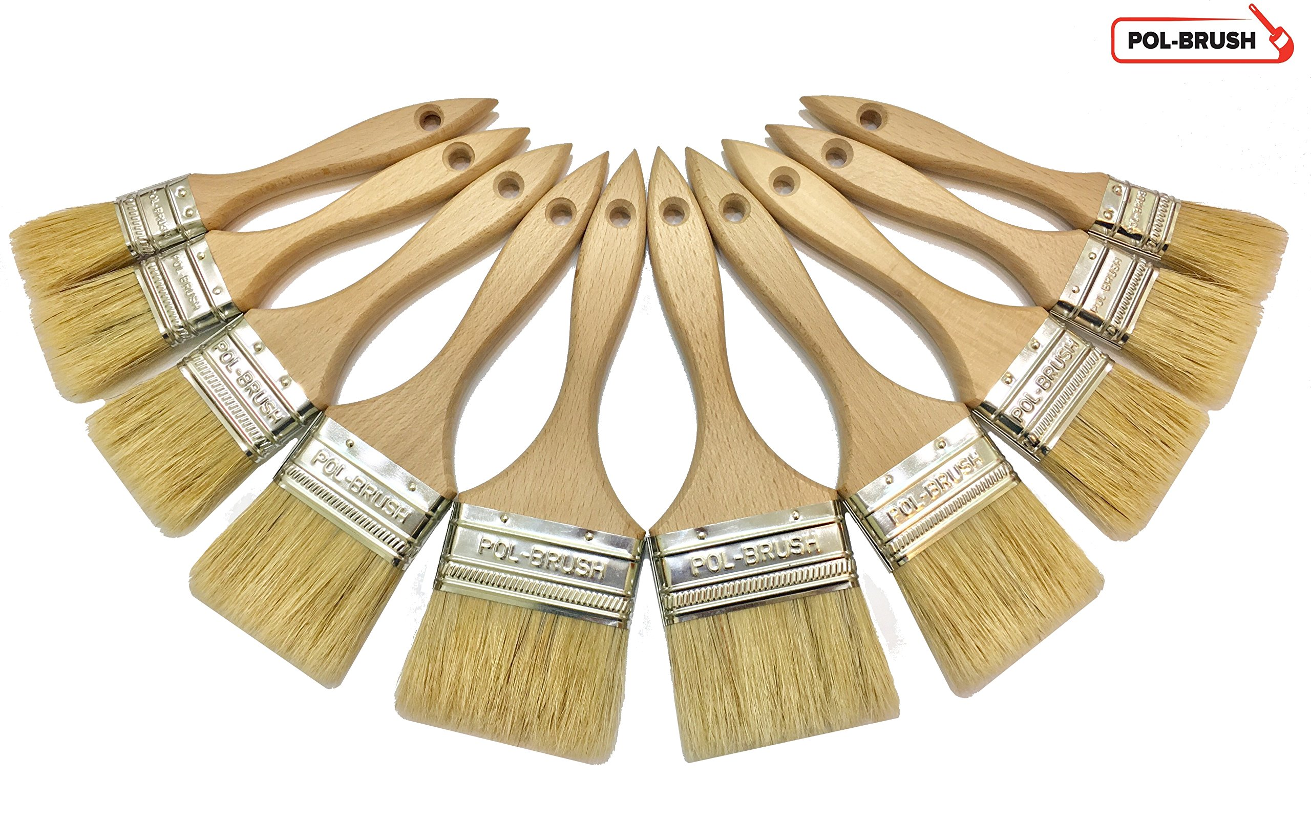 10 Pack - Professional Paint Brushes - Natural BristleWood Handle; For Professional & Amateur Paint Job, Oil Stain, Wax, Varnish, Glue and etc.