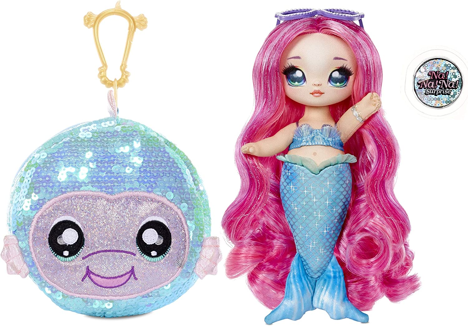 """Na Na Na Surprise 2-in-1 Fashion Doll and Sparkly Sequined Purse Sparkle Series – Marina Jewels, 7.5"""" Mermaid Doll"""