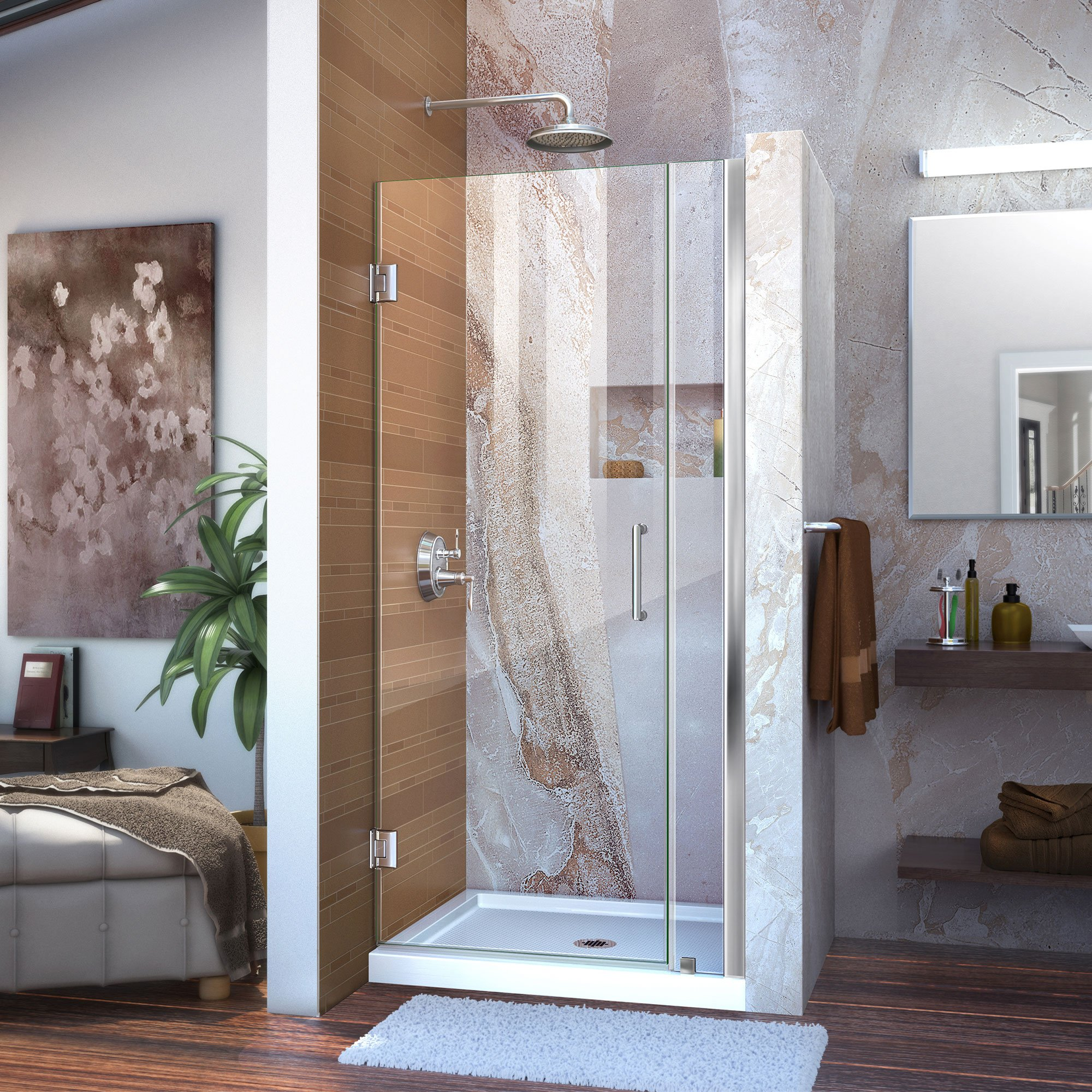 DreamLine Unidoor 34-35 in. Width, Frameless Hinged Shower Door, 3/8'' Glass, Chrome Finish by DreamLine