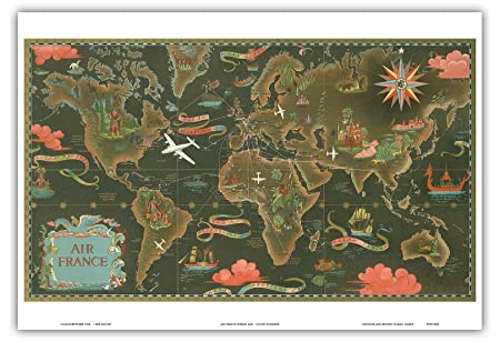Pacifica island art air france map fly routes world map pacifica island art air france map fly routes world map planisphere vintage airline travel gumiabroncs Images