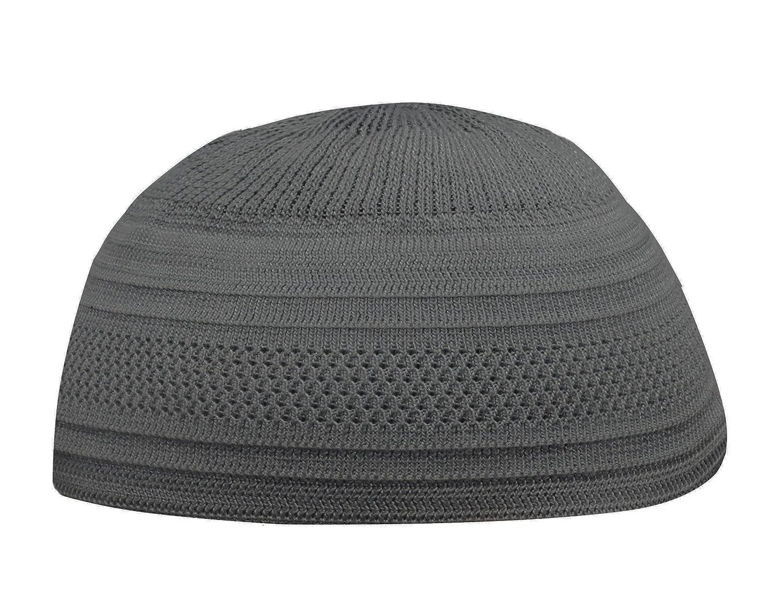GRAY Cotton Stretch Knit 1-size Kufi Hat Skull Cap - Prayer Cap Beanie Koofi