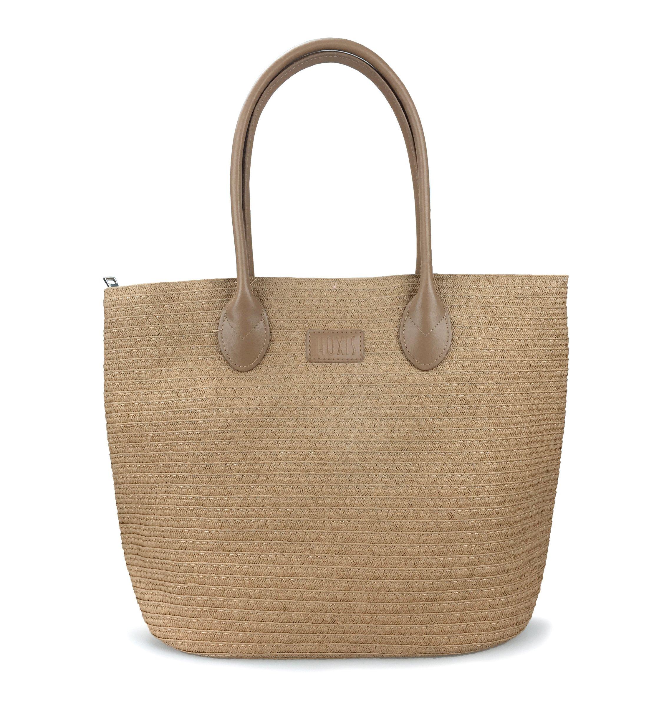 Straw Rattan Women Tote Summer Beach Shoulder Handbag Medium Size 17.8''x12.6''x5.1'' (Brown)