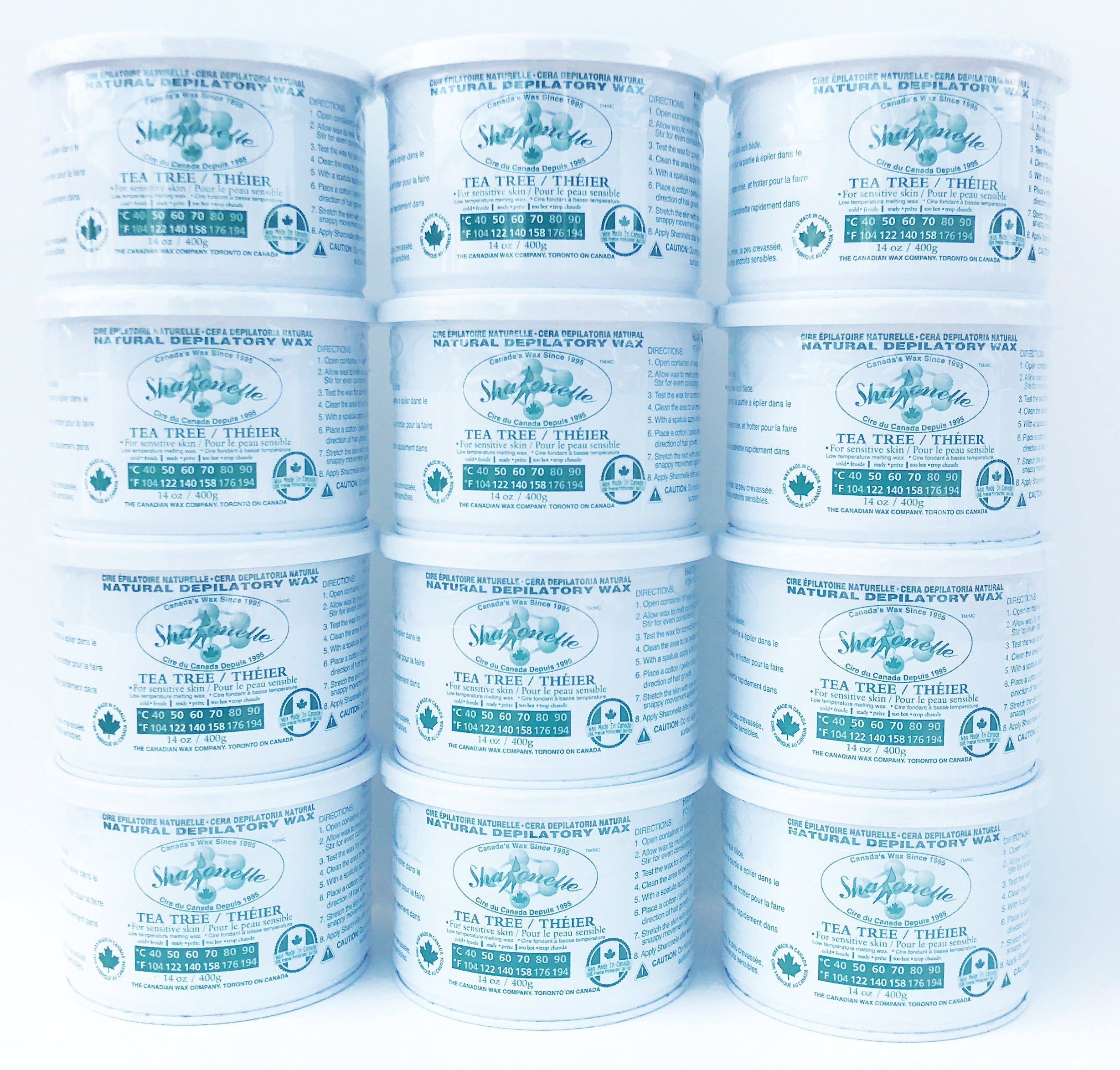 Sharonelle Natural Tea Tree Soft Wax For Sensitive Skin in 14 oz. - 12 cans