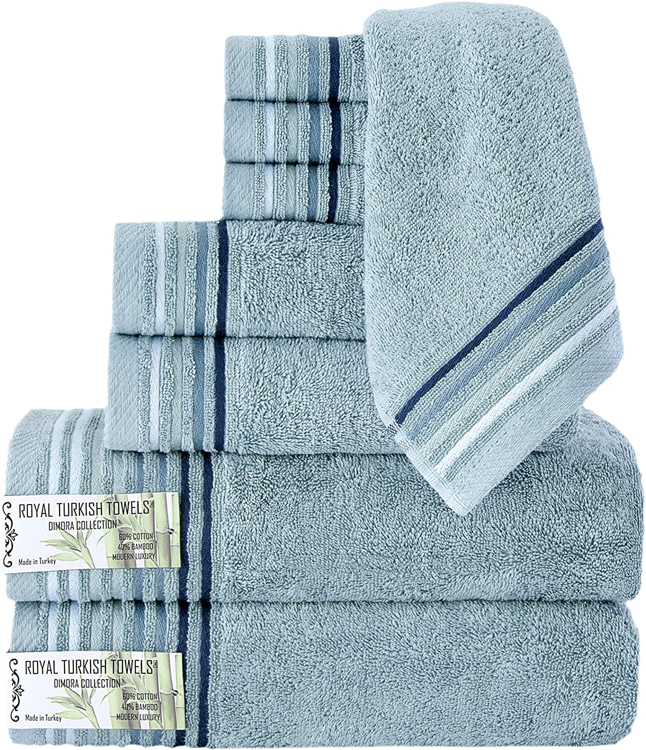 Classic Turkish Towels 8 Piece Luxury Bamboo Cotton Fiber Towel Set - Silky Soft Natural Hypoallergenic Bath Towels (Green)