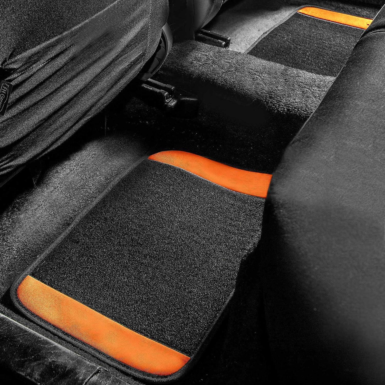 TLH Carpet Floor Mats with Colored Trim Orange Color