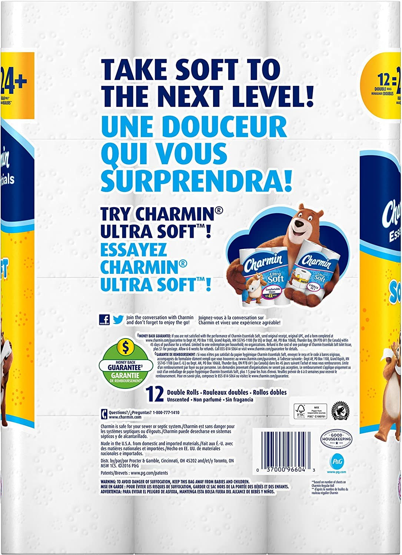 Charmin Essentials Soft Essentials 12 Double Rolls = 24 Regular Rolls: Health & Personal Care