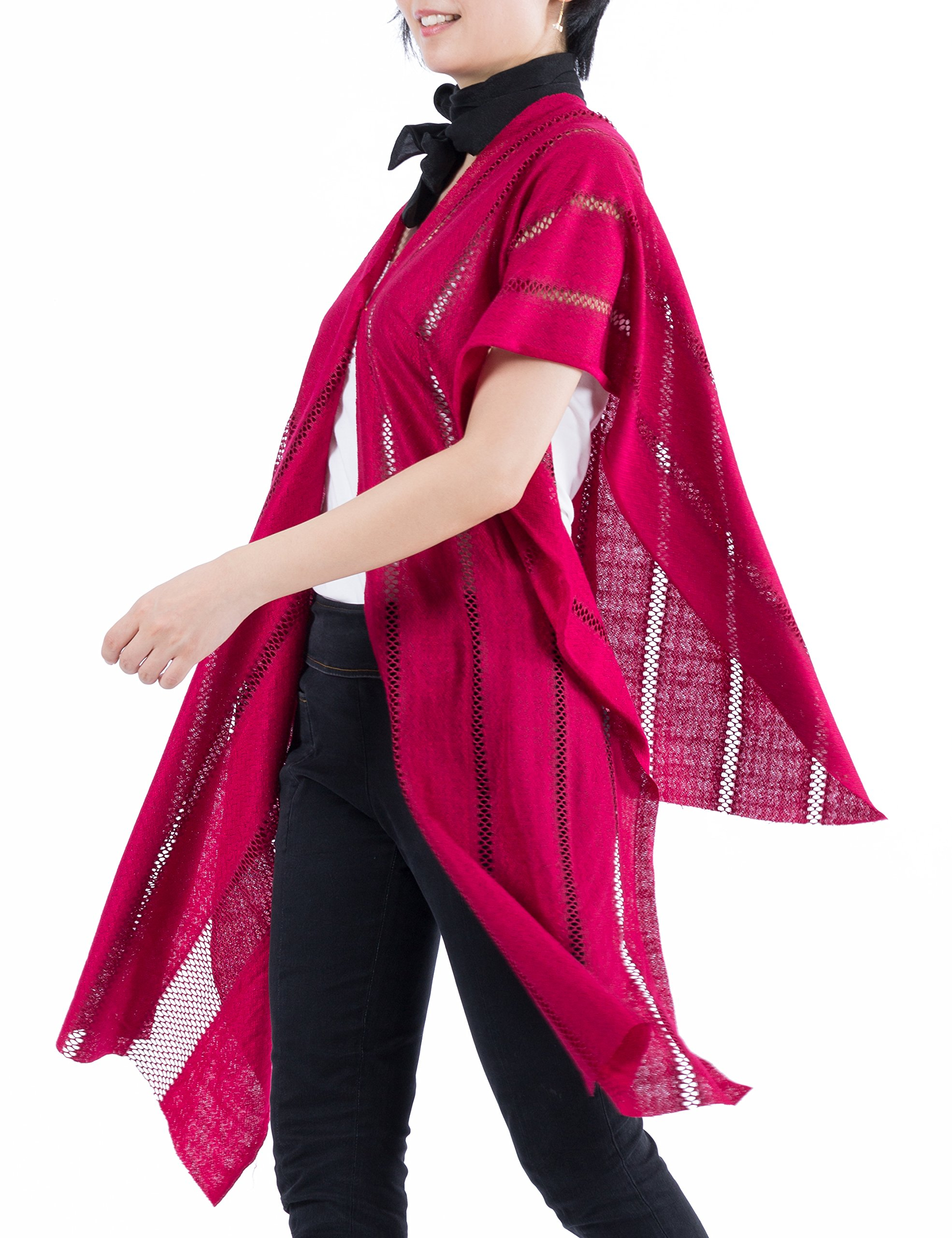 Red Shawl Wrap, Lightweight Long Scarf, Open Front Cardigan, Women Cover Up