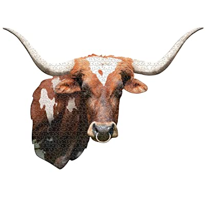 Madd Capp Puzzles - I AM Longhorn - 550 Pieces - Animal Shaped Jigsaw Puzzle: Toys & Games