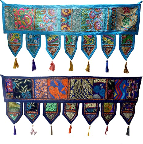 Indian Black Vintage Patchwork Embroidery Toran Door Valance Wall Hanging Decor
