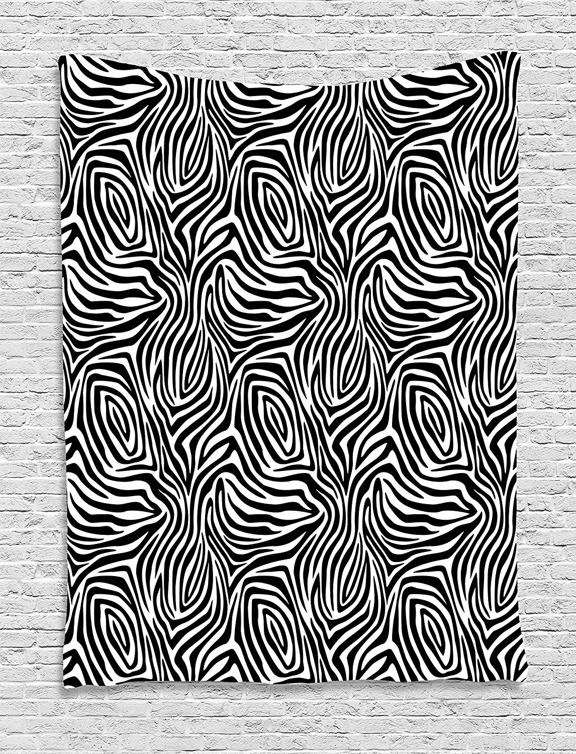 Stripes Tapestry, African Zebra Skin Pattern with Abstract Lines Monochrome Wild Animal Hide Design, Wall Hanging for Bedroom Living Room Dorm, 60 W X 80 L Inches, Black White