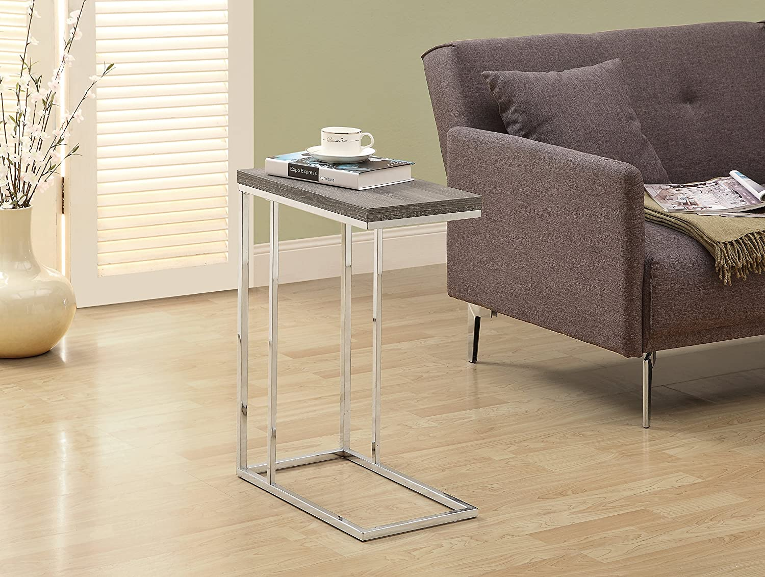 Amazoncom Monarch Specialties I 3008 Accent Table Chrome Metal
