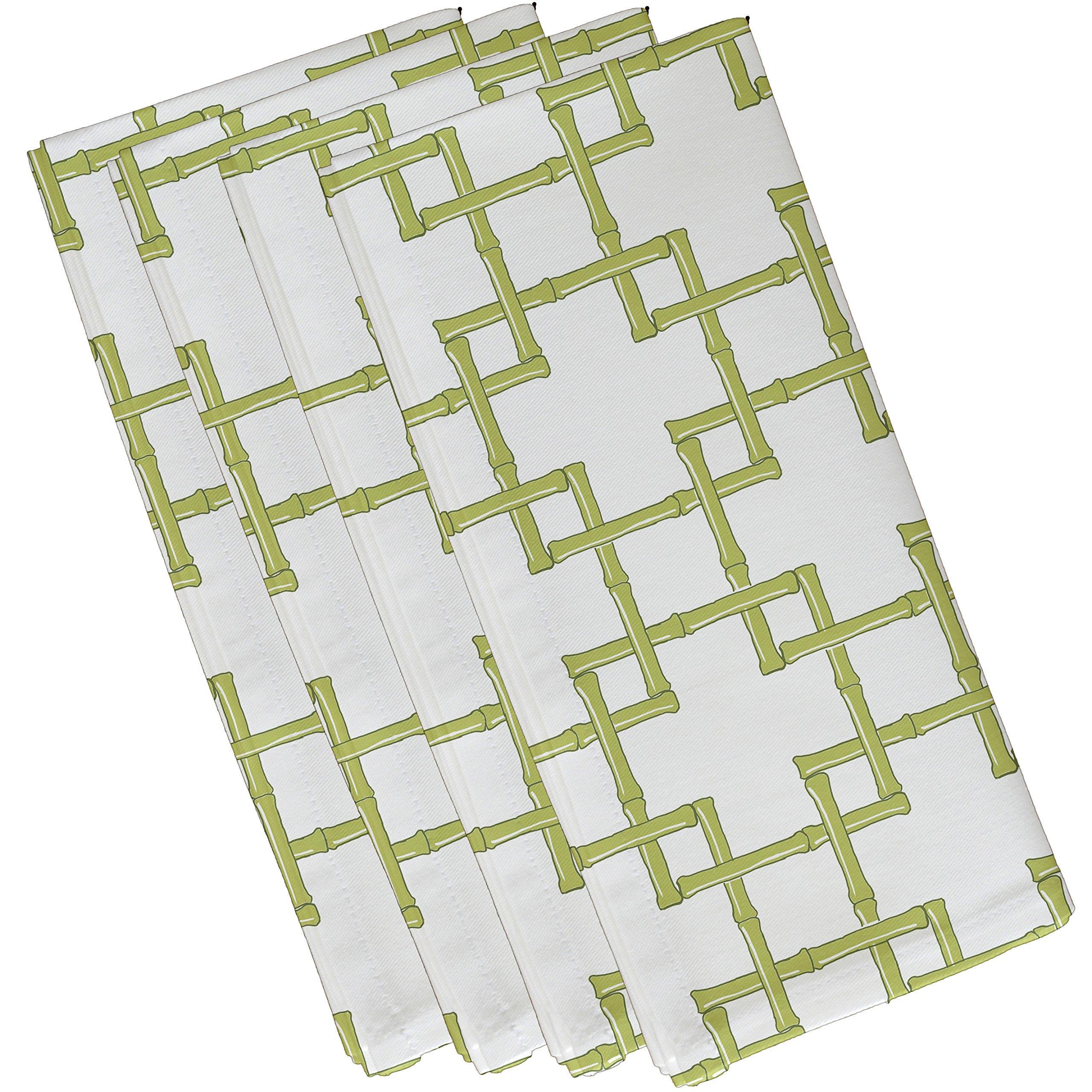 E by design Bamboo 2, Geometric Print Napkin, 19 x 19'', Green by E by design