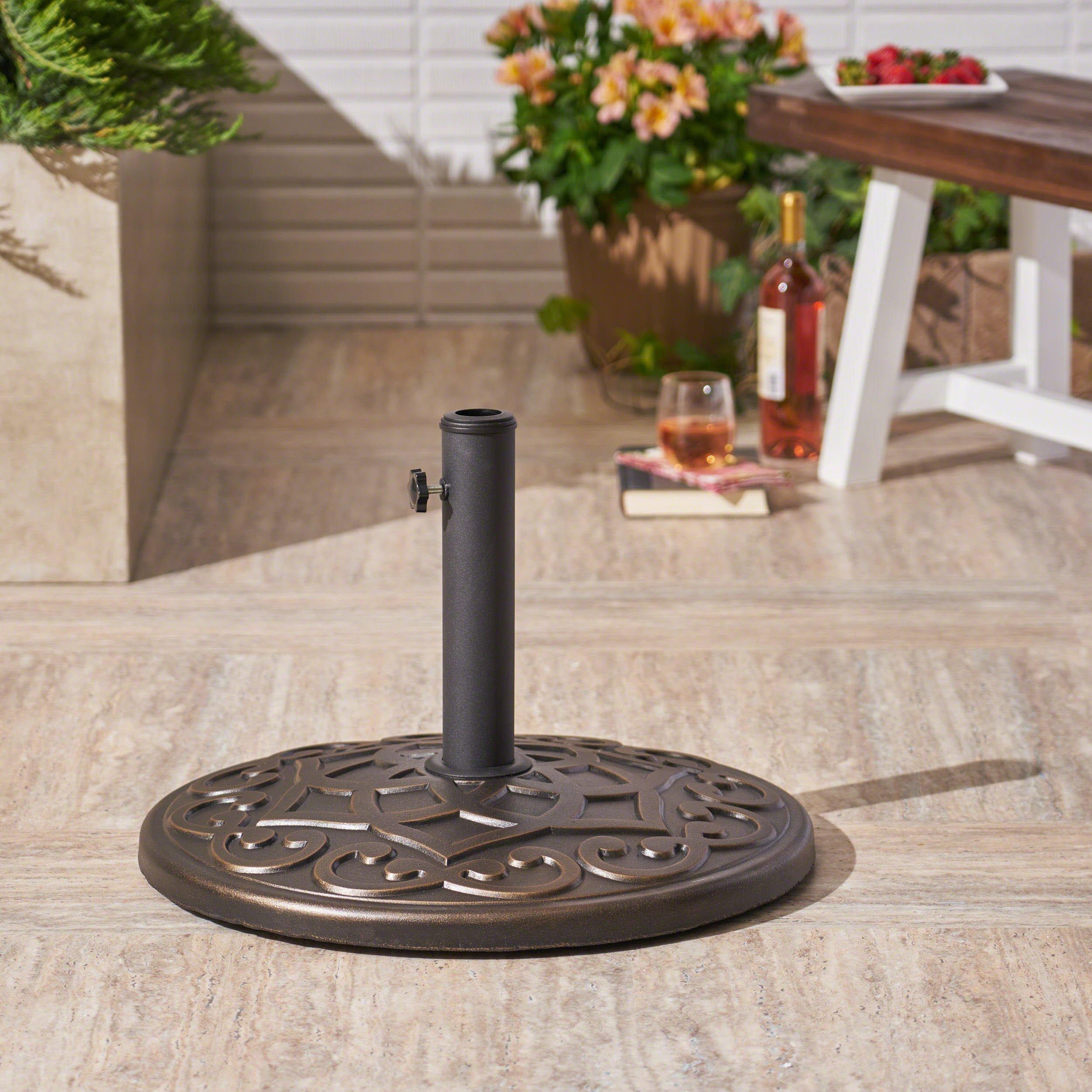 Great Deal Furniture Estelle   Outdoor Concrete Circular Umbrella Base   57LBS   in Hammered Dark Copper