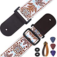 Asmuse Guitar Strap Vintage Braided Strap with Premium Genuine Leather Ends and Strap Hook for Electric and Acoustic Guitars Bass Folk (Including 2 Strap Locks)