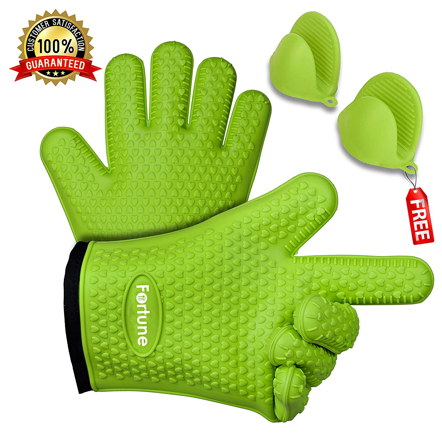 BBQグリル用手袋 – Best Heat Resistant Oven Mitts For Cooking、安全にBaking & Boiling – HoldsホットPots and Pans – 滑り止め鍋掴み内部コットンLayer – Includes Miniオーブンミット グリーン B07528HVWG  グリーン