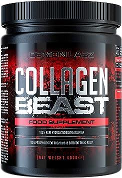 Collagen Beast - Péptidos de colágeno y Proteínas de Ultra Alta Pureza - Uso después del Entrenamiento para el Crecimiento Muscular (400 gramos)