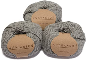 Luxuriously soft for Set of 3 Black AndeanSun 100/% Baby Alpaca Yarn Skeins