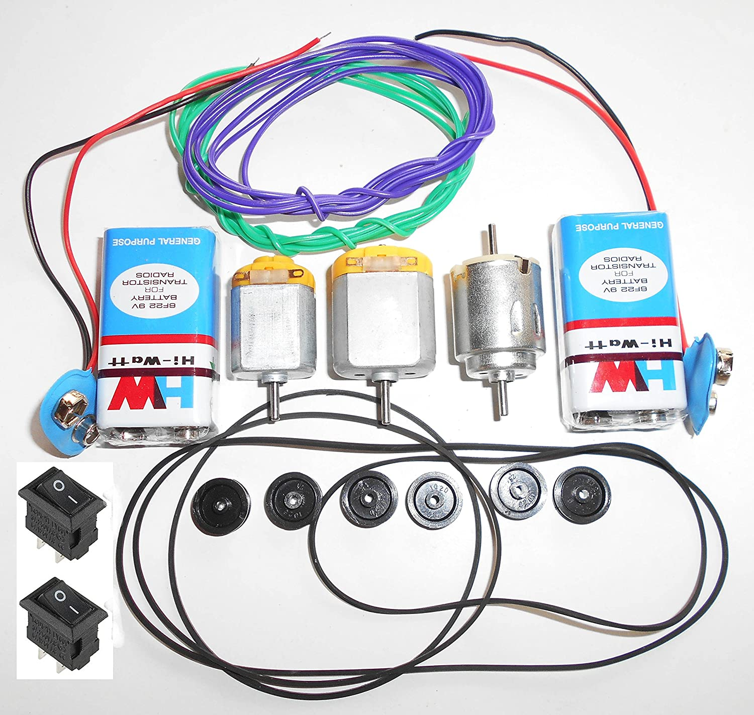 Vyga Project Diy Kit/3 Types Dc Motor With 6 Small Pulley Wheels+ 2  Battery(9Volt) With Snap(Connector)+ 4 Gear/Pully Belt + 2 Meter Wire + 2  Switch