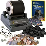 NATIONAL GEOGRAPHIC Hobby Rock Tumbler Kit - Complete Rock Tumbler Kit with Durable Tumbler, Rocks, Grit, and Patented GemFoa