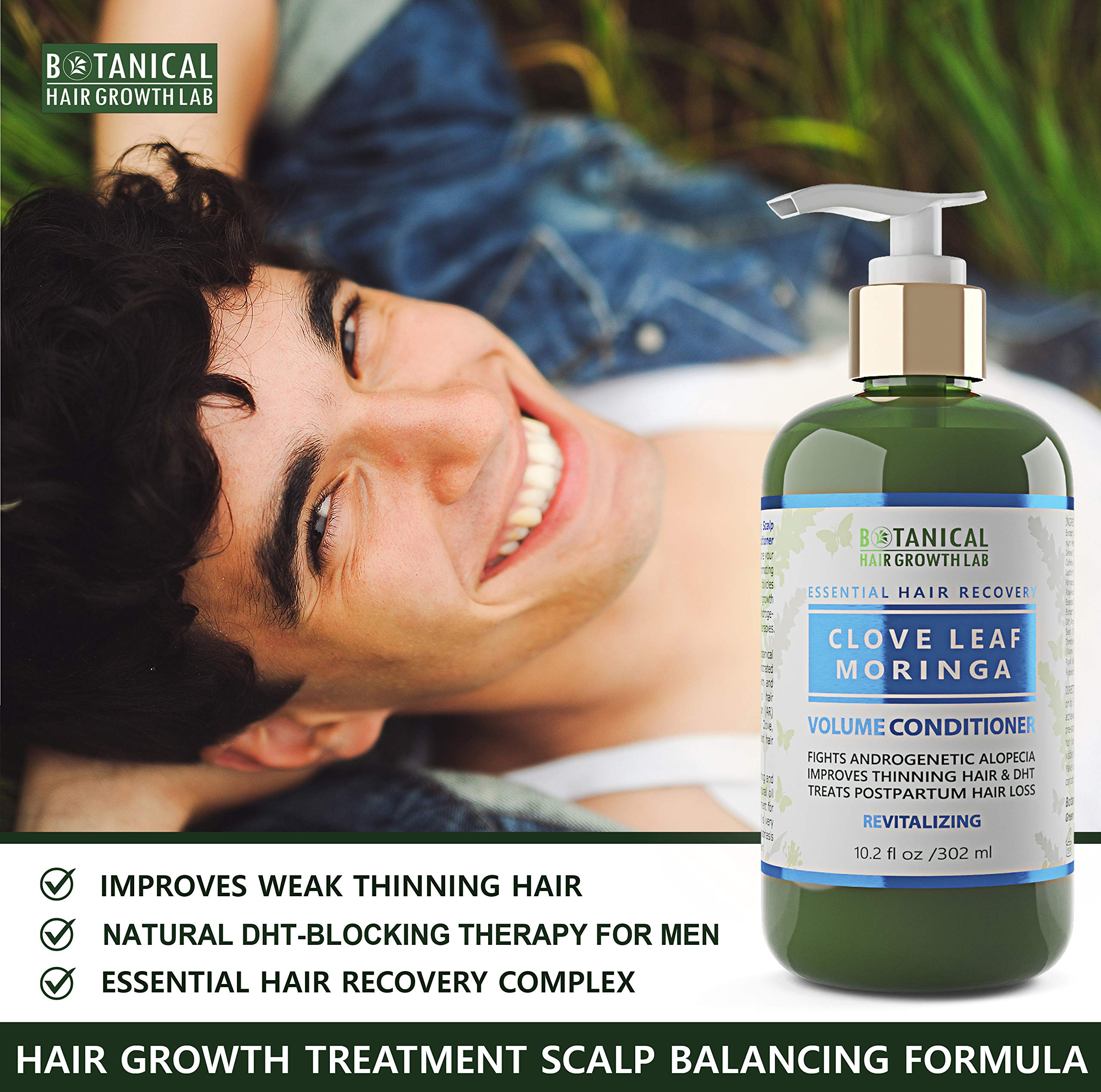 Botanical Hair Growth Lab Biotin Conditioner - Clove Leaf Moringa Formula - Anti Hair Loss Complex - DHT Blockers, Sulfate Free, Natural Ingredients for Men & Women by BOTANICAL HAIR GROWTH LAB (Image #7)