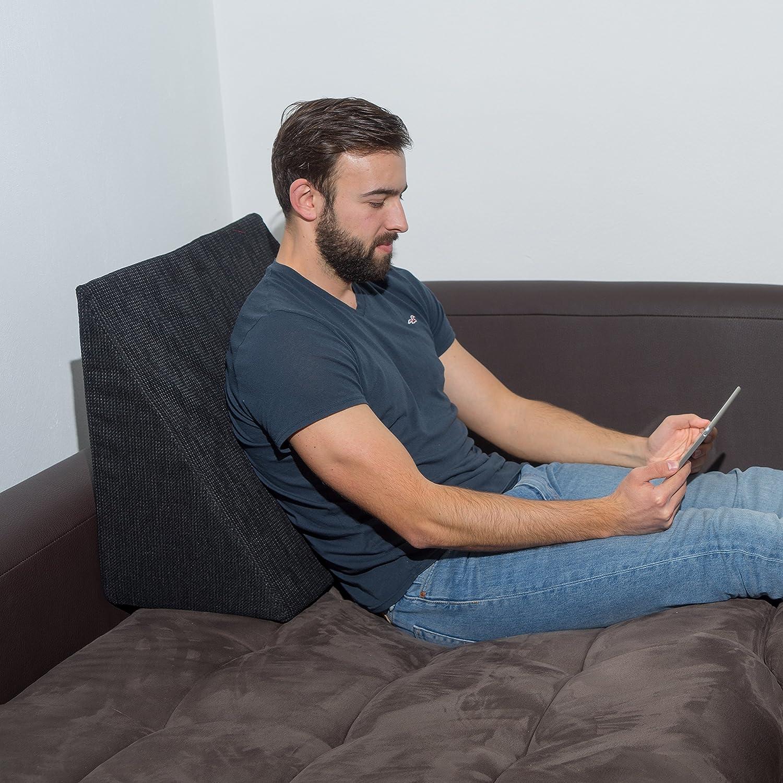 XL Almohada de cuña para sala de estar y dormitorio, cojín de lectura, almohada de relajación, respaldo flexible, cojines de embarazo, almohadas de ...