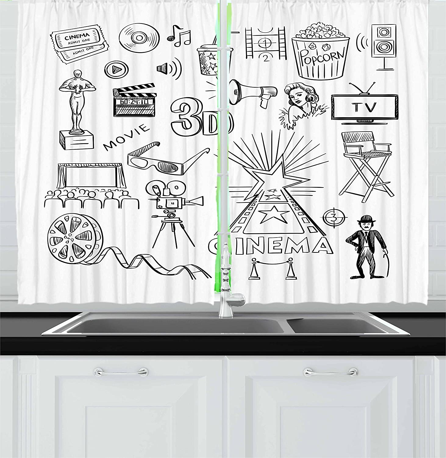 Amazon Com Ambesonne Movie Theater Kitchen Curtains Hand Drawn Of Hollywood Oscar 3d Glasses Sketch Style Arrangement Window Drapes 2 Panel Set For Kitchen Cafe Decor 55 X 39 Black White Home