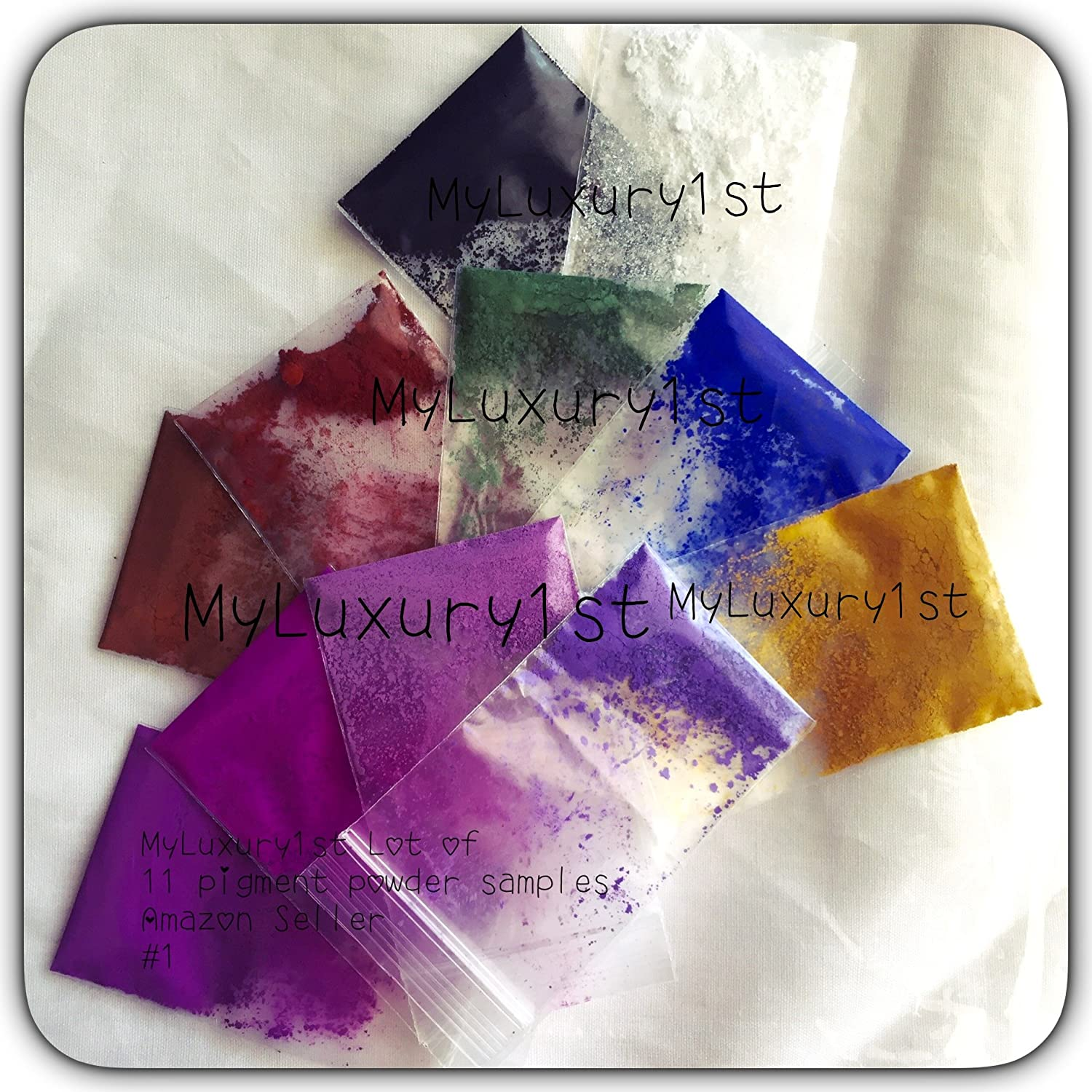 Lot of 11 SAMPLE 1.5 gram MATTE CP MP HP DIY Soap Making Pigment BLACK Iron Oxide WHITE Titanium Dioxide BROWN RED GREEN BLUE YELLOW VIOLET PURPLE PLUM ORCHID LAVENDER Ultramarine Pigment Powder MyLuxury1st