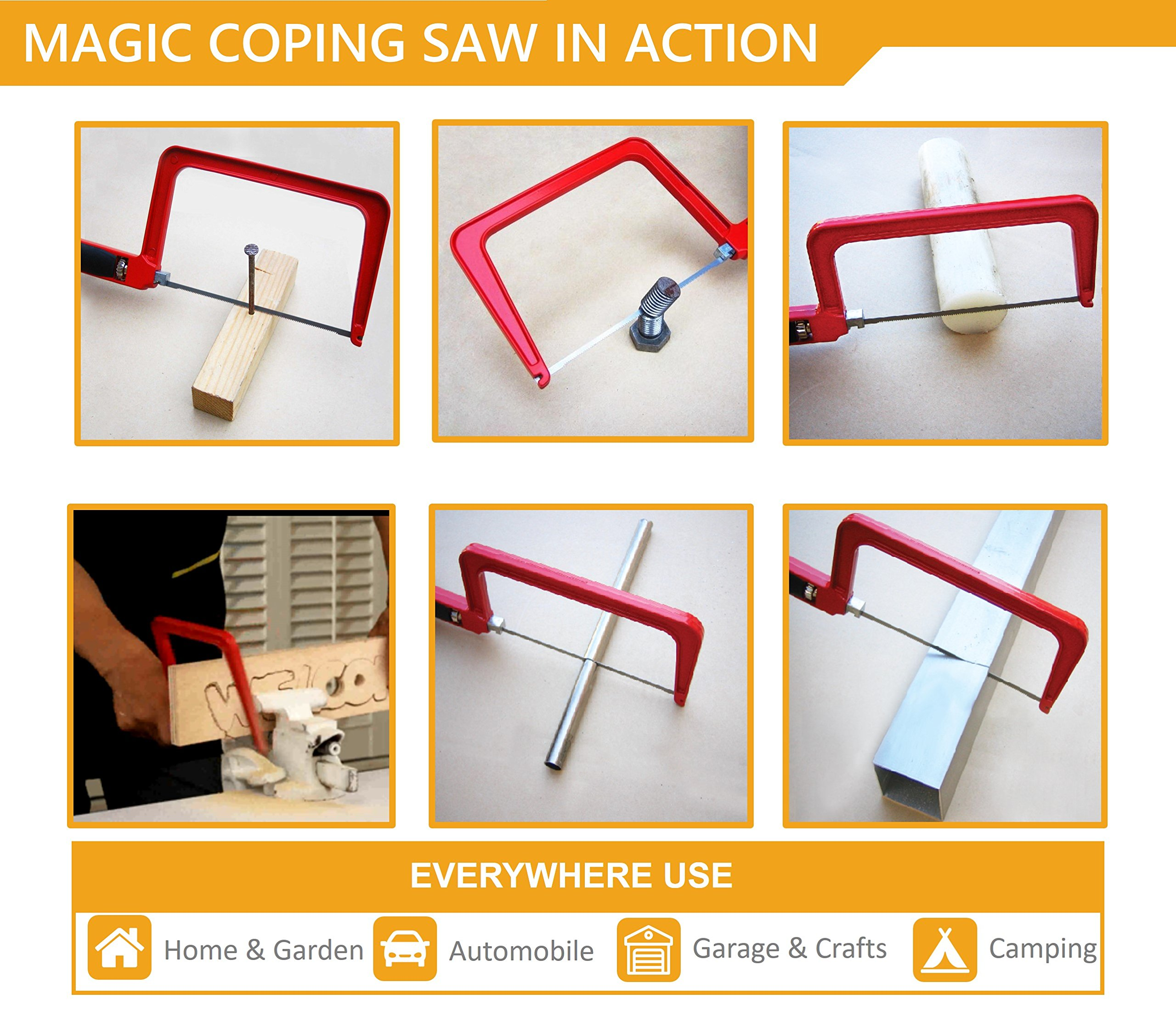 Original Magic Coping Saw with 6 inch High Carbon Steel Pins Blades, a Heavy Duty H shape Metal Frame Works as Fret Saw, Hacksaw, and Pruning Saw & Suitable to Cut Wood, Plastic, PVC, Aluminum, Nails by Amazing Tools (Image #3)