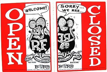 Amazon.com: Rat Fink señal abierto/cerrado cochera Business ...