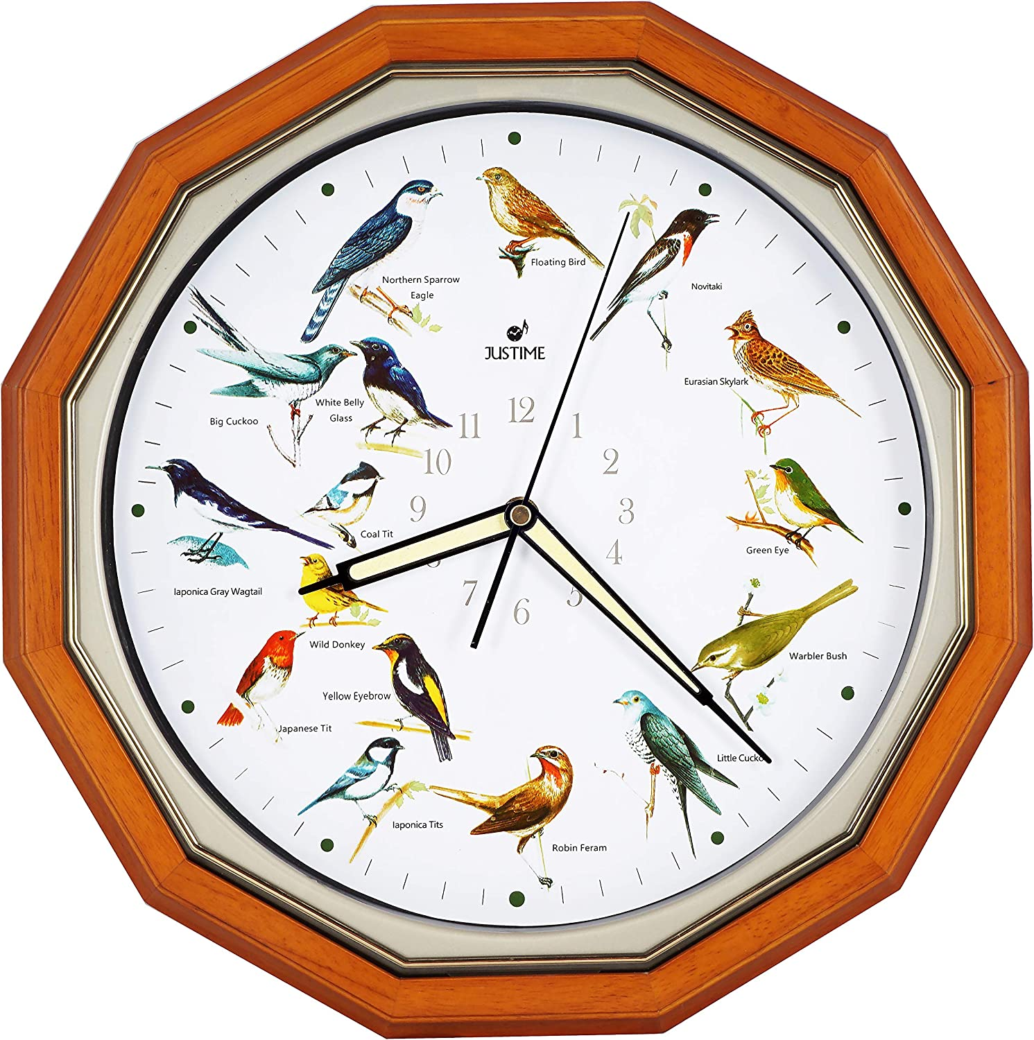JUSTIME Plays 16 Popular Bird's Songs Triple Chime Music 14-inch Dodecagon Solid Wood Wall Clock Home Deco Multicolor - TCBD060