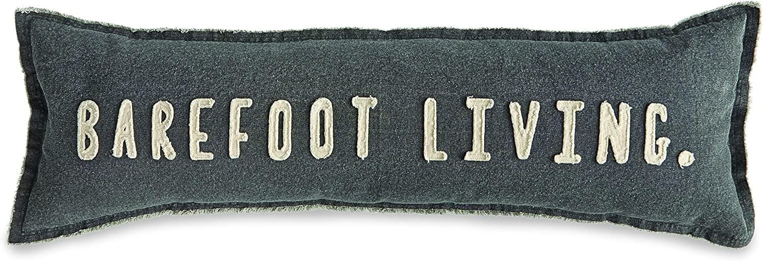 """Mud Pie Barefoot Living Washed Canvas Lumbar 35"""" Accent Pillow, Black"""