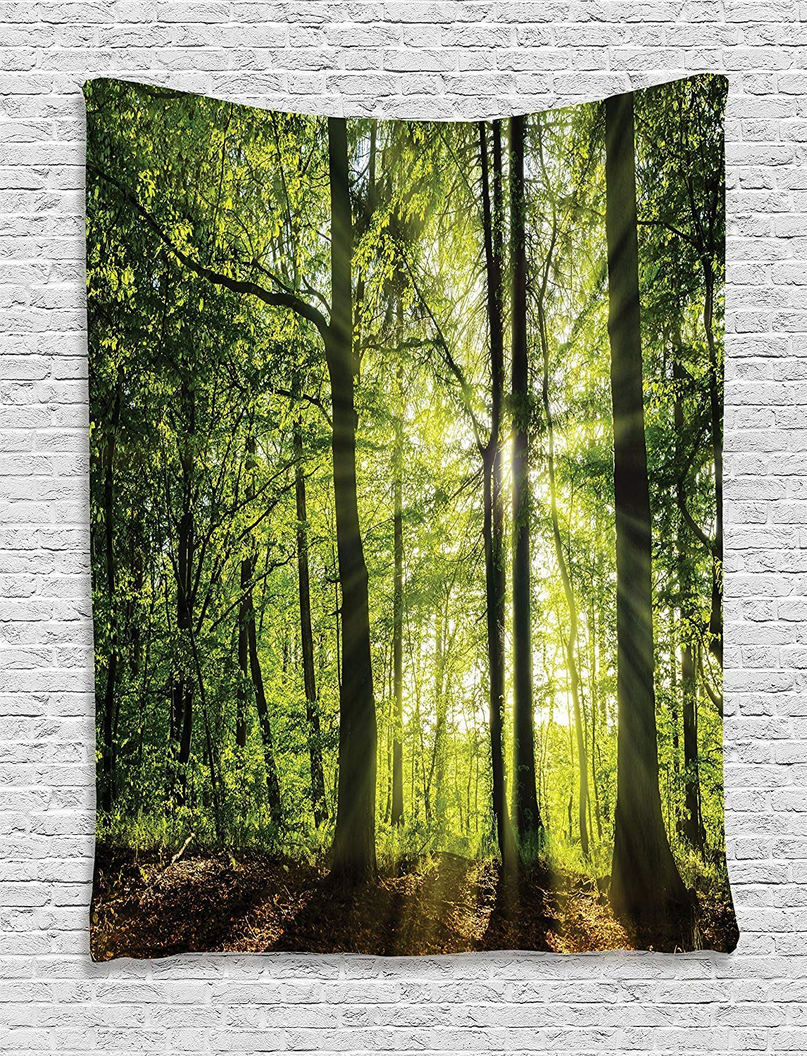 Ambesonne Farm House Decor Collection Green Brown tap/_14626/_Forest/_Sun/_Beam/_06.17/_40x60 Bedroom Living Room Dorm Wall Hanging Tapestry Sunny Forest in The Springtime with Sunbeams Rural Areas Jungle Nature Photo Art